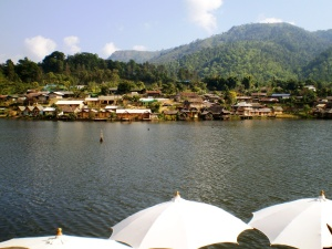A gorgeous village, Rakthai, situated high up in the mountains by a huge water reservoir.