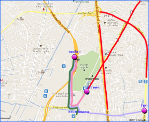 Rough directions from nearest BTS station to the Mochit Bus Terminal